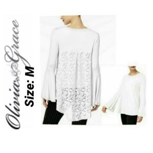 High-low Lace-back Top Flare Sleeves NWT M